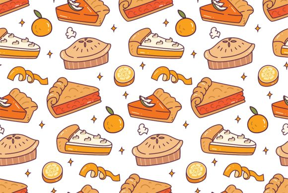 Lemon Pie Seamless Pattern Vector Graphic Illustrations By Big Barn Doodles