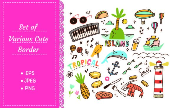 Tropical Island Theme Doodle Graphic Illustrations By Big Barn Doodles