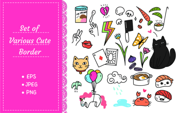 Various Things in Cute Cartoon Doodle Graphic Illustrations By Big Barn Doodles