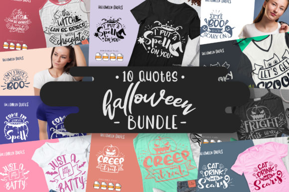 Print on Demand: 10 Halloween Bundle | Lettering Quotes Gráfico Crafts Por Vunira