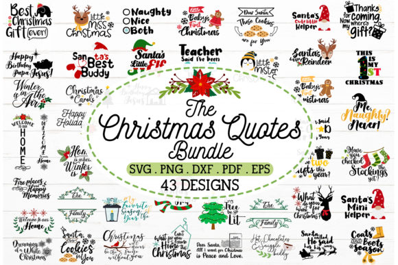 2 in 1 Christmas Quotes Bundle Graphic