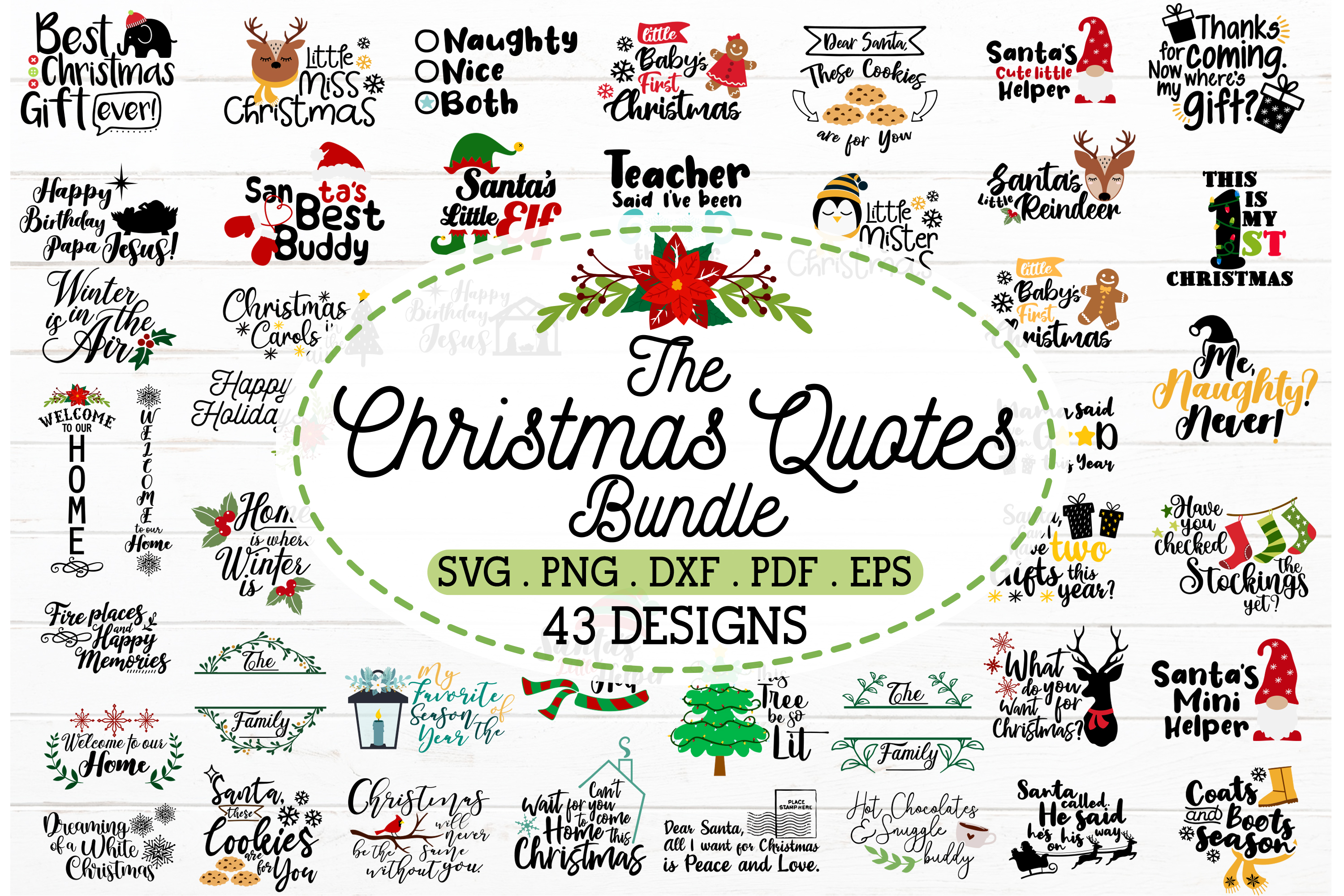 2 in 1 Christmas Quotes Bundle SVG File