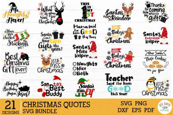 2 in 1 Christmas Quotes Bundle Graphic Download