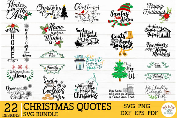 2 in 1 Christmas Quotes Bundle Graphic Item