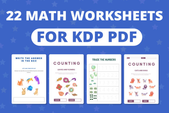 Print on Demand: 20 Math Worksheets for Kids Graphic Print Templates By RefreshUp