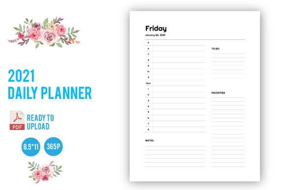 Print on Demand: 2021 Daily Planner KDP Interior Graphic KDP Interiors By dnezel
