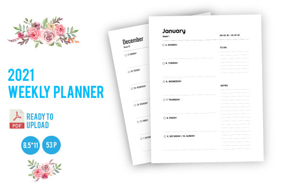 Print on Demand: 2021 Weekly Planner Graphic KDP Interiors By dnezel