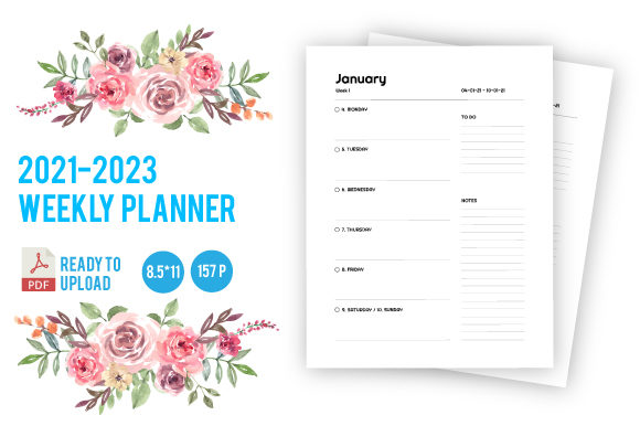 Print on Demand: 2021-2023 3 Years Weekly Planner Graphic KDP Interiors By dnezel