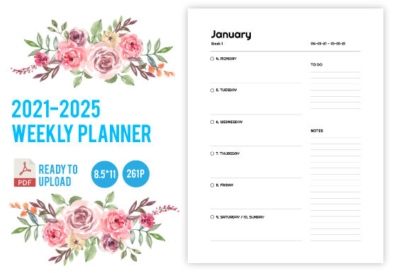 Print on Demand: 2021-2025 5 Years Weekly Planner Graphic KDP Interiors By dnezel