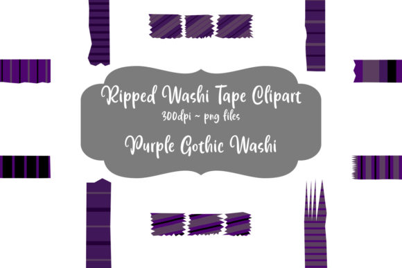 Print on Demand: 50+ Purple Gothic Ripped Washi Strips Graphic Illustrations By Whiskey Black Designs