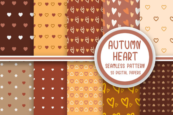 Autumn Heart Seamless Pattern Graphic Patterns By PearlyDaisy