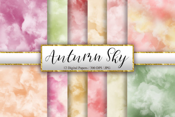 Autumn Sky Watercolor Digital Papers Graphic Backgrounds By PinkPearly