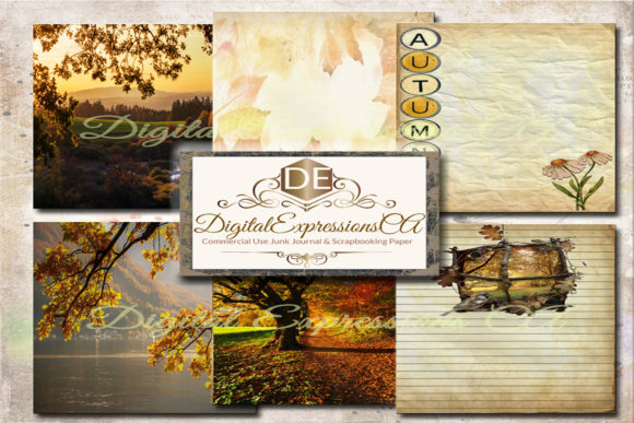 Autumn Splendor Junk Journal Pages Graphic Textures By Digital Expressions CA