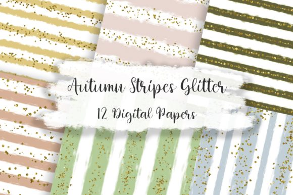 Autumn Stripes Glitter Digital Papers Graphic Backgrounds By PinkPearly
