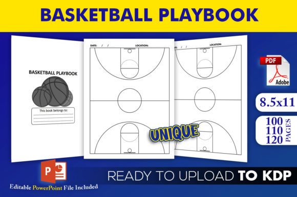 Print on Demand: Basketball Playbook KDP Interior Graphic KDP Interiors By Beast Designer
