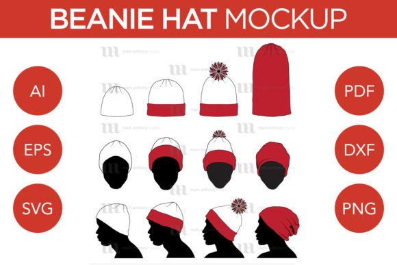 Beanie Hat - Vector Template Mockup Graphic Product Mockups By markanthonymedia