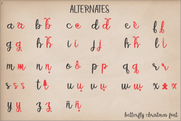 Betterfly Christmas Font Preview