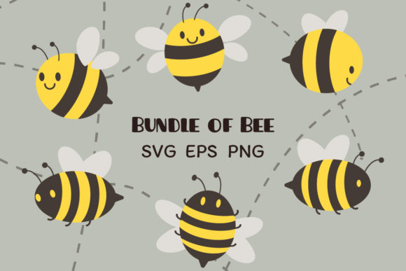Bundle of Bee Clipart Graphic Illustrations By Guppic the duck