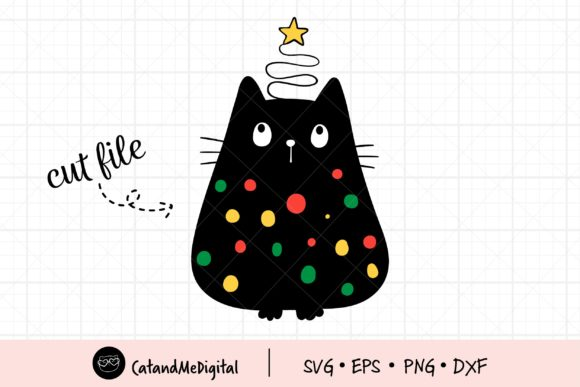 Christmas Black Cat with Light SVG. Graphic Illustrations By CatAndMe