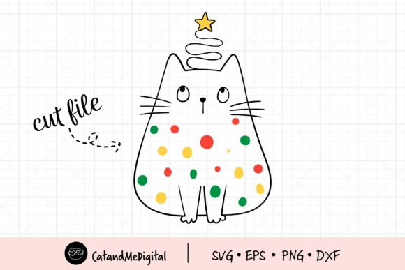 Christmas Cat with Light SVG. Graphic Illustrations By CatAndMe