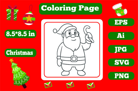 Print on Demand: Christmas Coloring Page for Kids 10 Graphic Coloring Pages & Books Kids By KDP_Interior_101