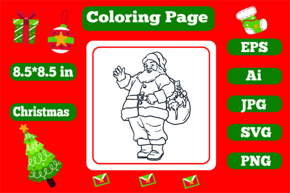 Print on Demand: Christmas Coloring Page for Kids 4 Graphic Coloring Pages & Books Kids By KDP_Interior_101