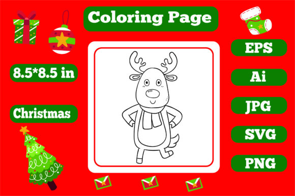 Print on Demand: Christmas Coloring Page for Kids 8 Graphic Coloring Pages & Books Kids By KDP_Interior_101