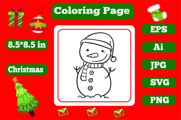 Print on Demand: Christmas Coloring Page for Kids 9 Graphic Coloring Pages & Books Kids By KDP_Interior_101