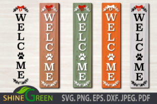 Print on Demand: Christmas Welcome Porch Sign Cat Dog Paw Graphic Crafts By ShineGreenArt