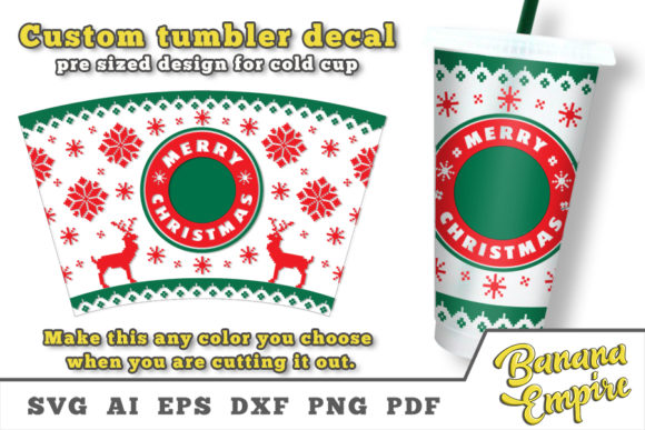 Print on Demand: Christmas Cup Decal, Merry Christmas SVG Graphic Crafts By Banana Empire