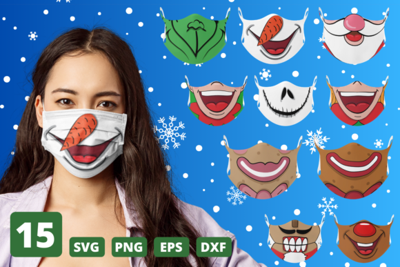Christmas Face Mask Patterns Graphic