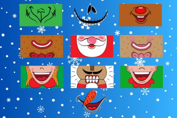 Christmas Face Mask Patterns Graphic Download