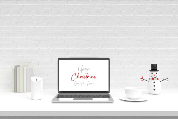 Christmas Laptop Mockup with Screen Graphic Product Mockups By Avadesing
