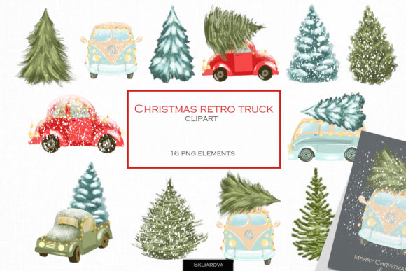Christmas Retro Truck Clipart Graphic Illustrations By HappyWatercolorShop