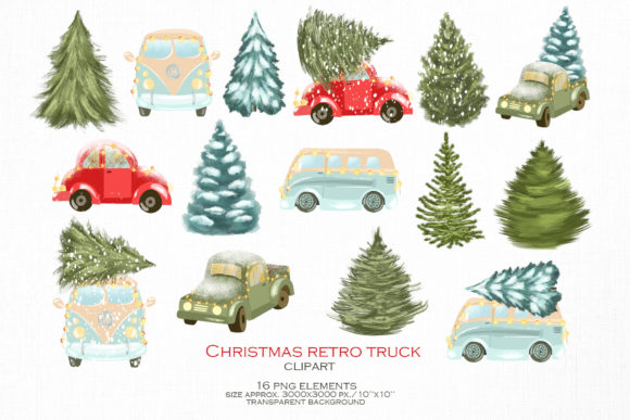 Christmas Retro Truck Clipart Graphic Download