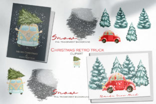 Christmas Retro Truck Clipart Graphic Illustrations By HappyWatercolorShop 3