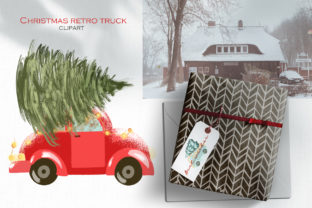 Christmas Retro Truck Clipart Graphic Illustrations By HappyWatercolorShop 4