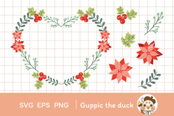 Christmas Wreath and Elements Clipart Graphic Illustrations By Guppic the duck