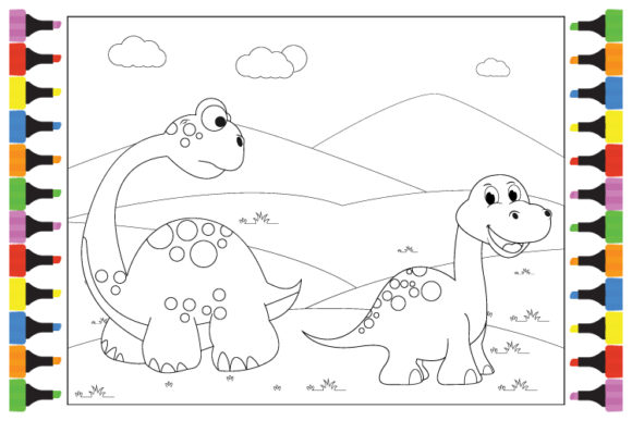 Print on Demand: Coloring Cute Dinosaur for Kids Graphic Illustrations By curutdesign