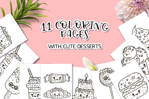 Coloring Pages with Cute Desserts Graphic Coloring Pages & Books Kids By Анна Конева