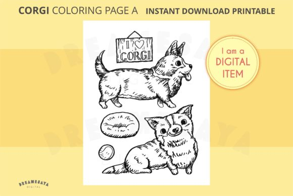 Corgi Coloring Sheet JPG Download a Graphic Coloring Pages & Books Adults By Dreamesaya