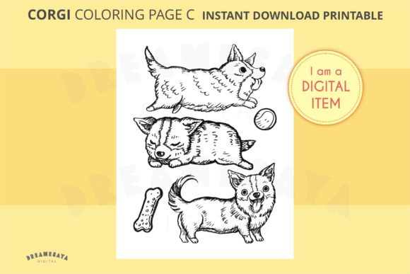 Corgi Coloring Sheet JPG Download C Graphic Coloring Pages & Books Adults By Dreamesaya