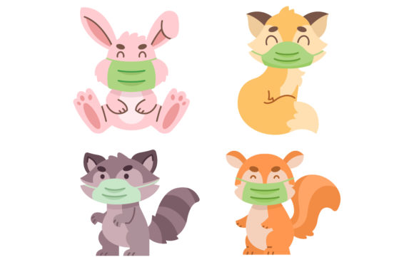 Cute Animal Pack Wearing a Mask Graphic Illustrations By MatFine