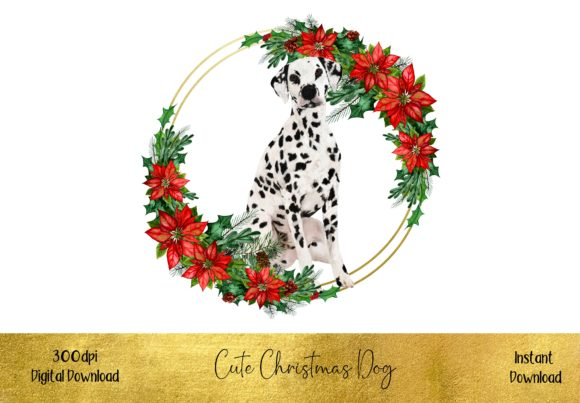 Cute Christmas Dalmation Dog Graphic Illustrations By STBB