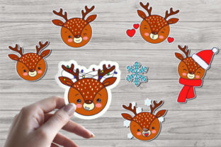 Print on Demand: Cute Christmas Deer Stickers Graphic Illustrations By nastiatrel