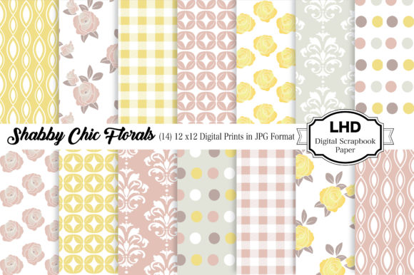 Digital Paper Shabby Chic Cottage Graphic Patterns By LeskaHamatyDesign