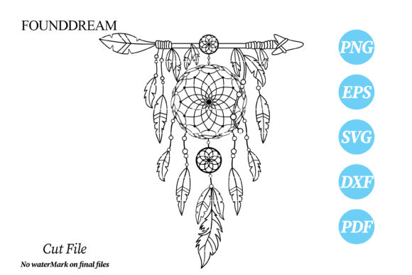 Print on Demand: DreamCatcher with Ethnic Arrow Cut File Graphic Crafts By FounDream