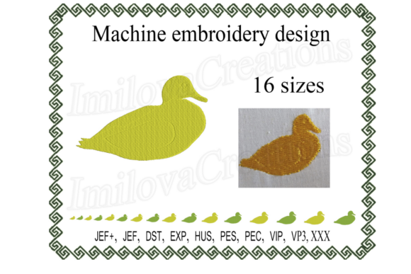 Duck Silhouette Farm Animals Embroidery Design By ImilovaCreations
