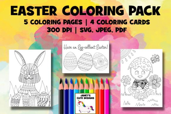 Print on Demand: Easter Coloring Pack Graphic Coloring Pages & Books By Janet's Cute Designs