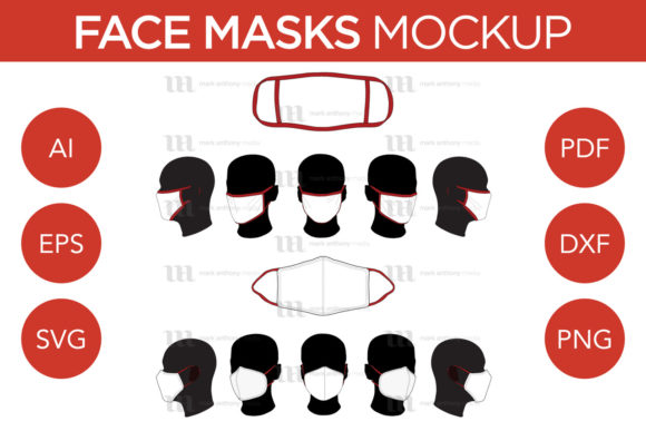 Face Masks - Vector Mockup Template Graphic Product Mockups By markanthonymedia